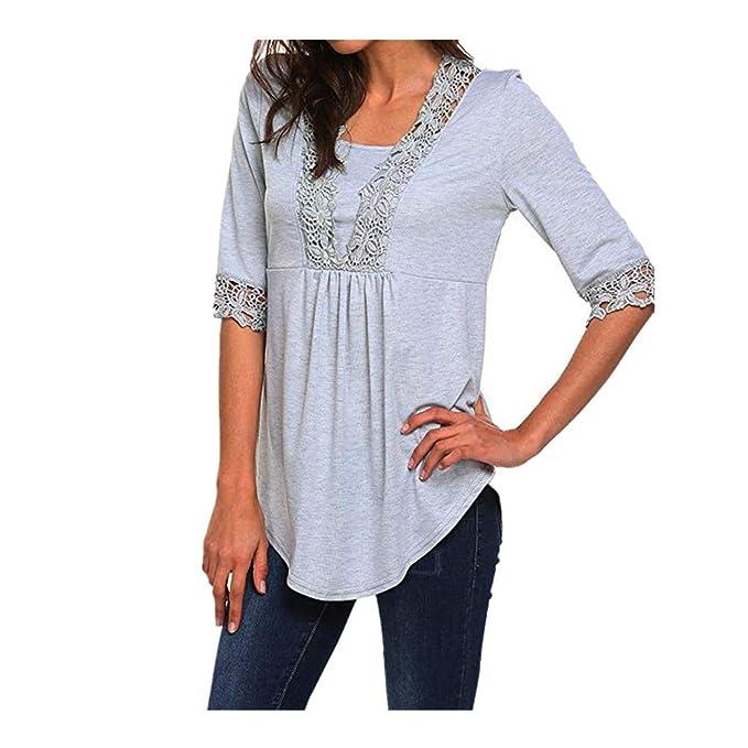 Camisa para Mujer de Encaje con Cuello en v Blusa Casual ...