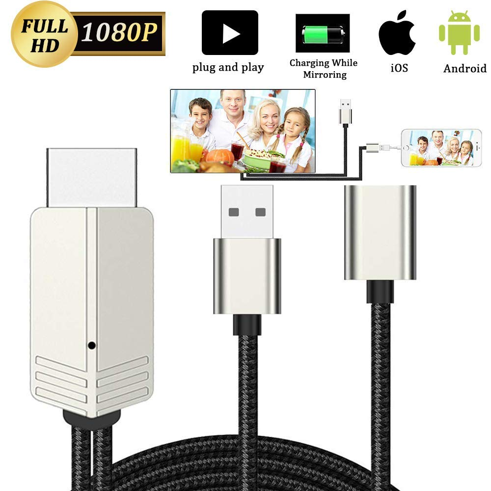 DIWUER Compatible with iPhone iPad Android Phones to HDMI Cable 6.6ft, 1080P Supported Digital AV Adapter for iPhone Xs Max XR X 8 7 6, iPad, Samsung Huawei to TV, Projector, Monitor by DIWUER