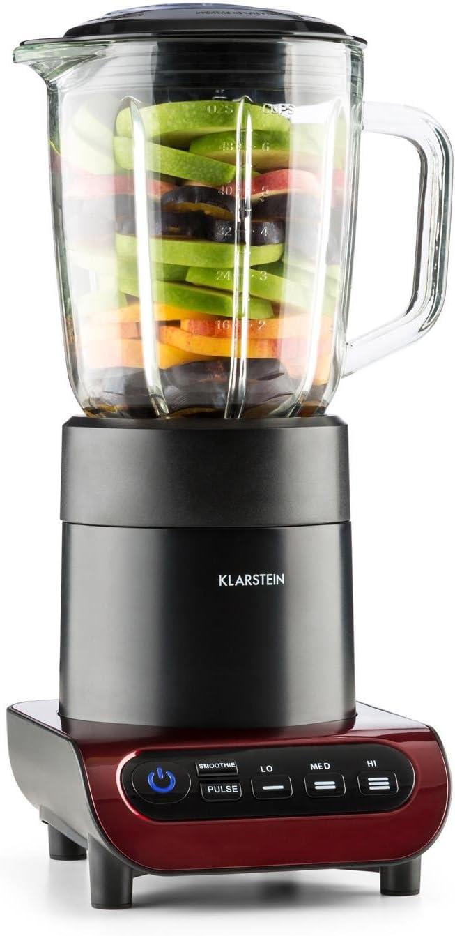 KLARSTEIN Lambada batidora mezcladora (650 W, 3 velocidades, Recipiente de Vidrio de 1,5 l, Base Antideslizante, Cuchillas de Acero Inoxidable) - Negro