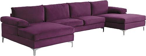 Casa AndreaMilano Modern Large Velvet Fabric U-Shape Sectional Sofa