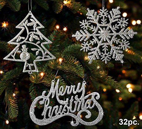 BANBERRY DESIGNS Christmas Ornaments - Set of 32 Silver Glitter Ornaments - Silver Trees, Silver Snowflakes and Silver Merry Christmas Signs - Christmas Decorations ()