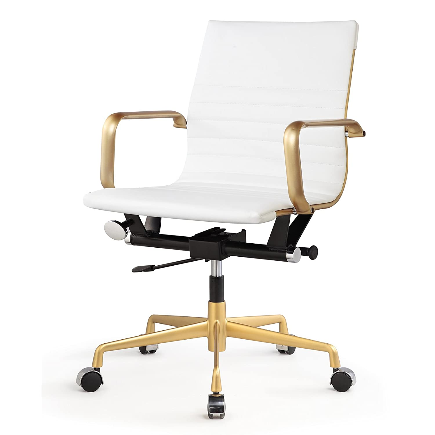 office chair white leather. Amazon.com: Meelano 348-GD-WHI Office Chair In Vegan Leather, Gold/White: Kitchen \u0026 Dining White Leather