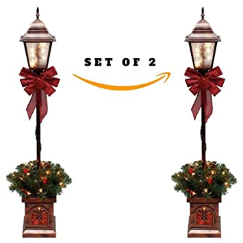 set of 2 christmas lamp outdoor decoration post tree clear lights christmas decor set