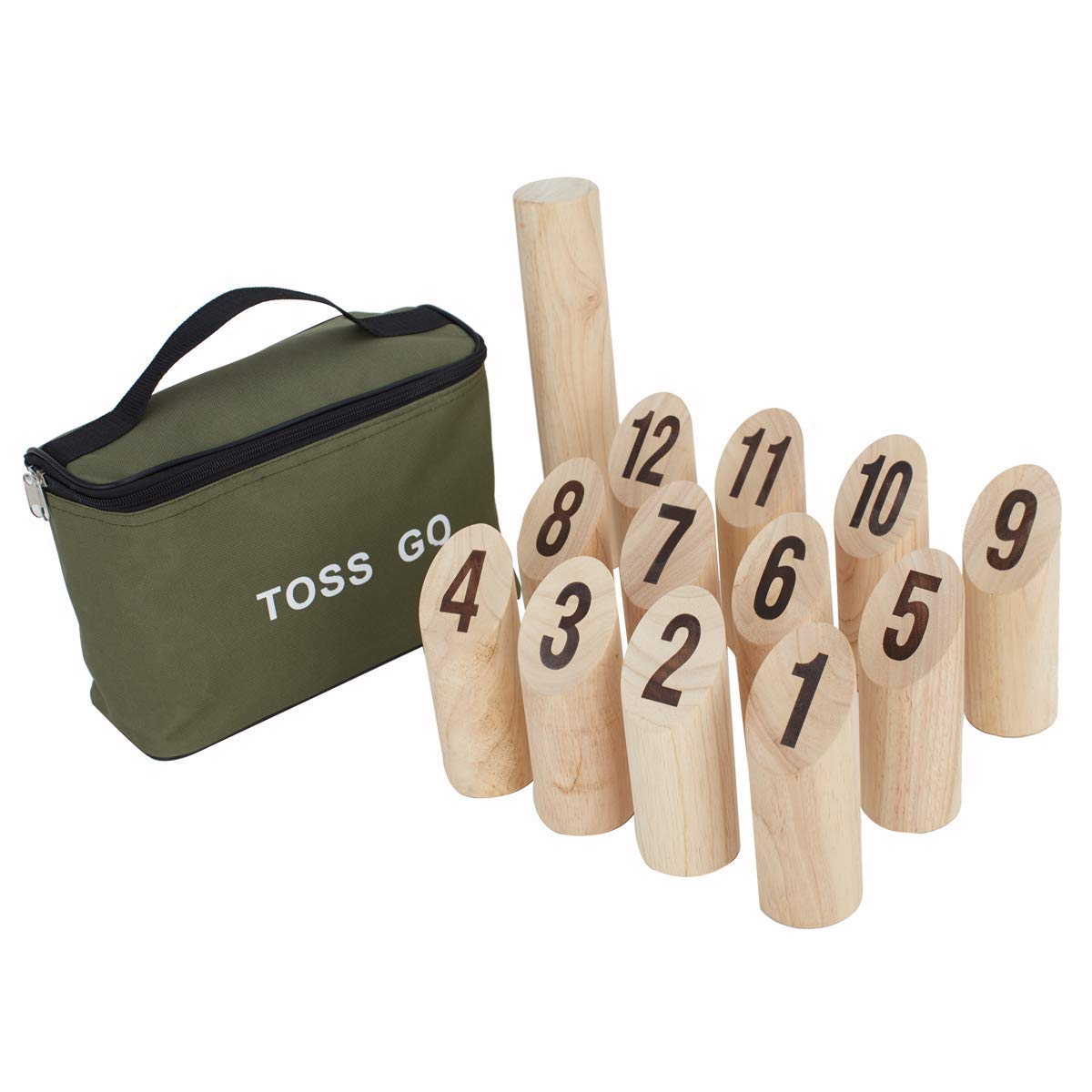 Toss Go Molkky Outdoor Sport- Rubberwood Skittle Scatter Numbers Kubb with Carrying Bag - Outdoor Yard and Lawn Games for Kids and Adults