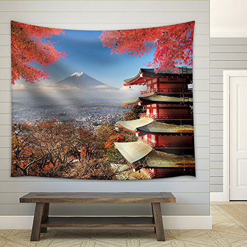 Mt Fuji with Fall Colors in Japan for Adv or Others Purpose Use Fabric Wall