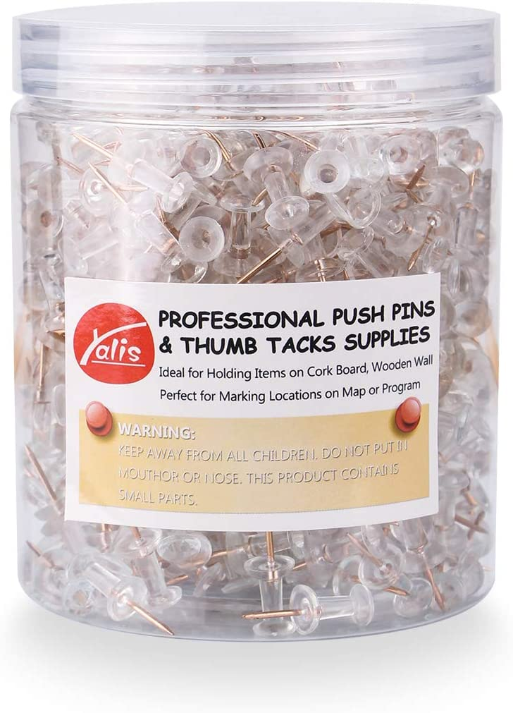 **NEW** Push Pins 600 Count Clear Thumb Tacks Steel Point and Clear Plastic