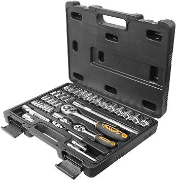 Cablematic - Maleta de 39 piezas de llaves fijas con carraca de 1/4