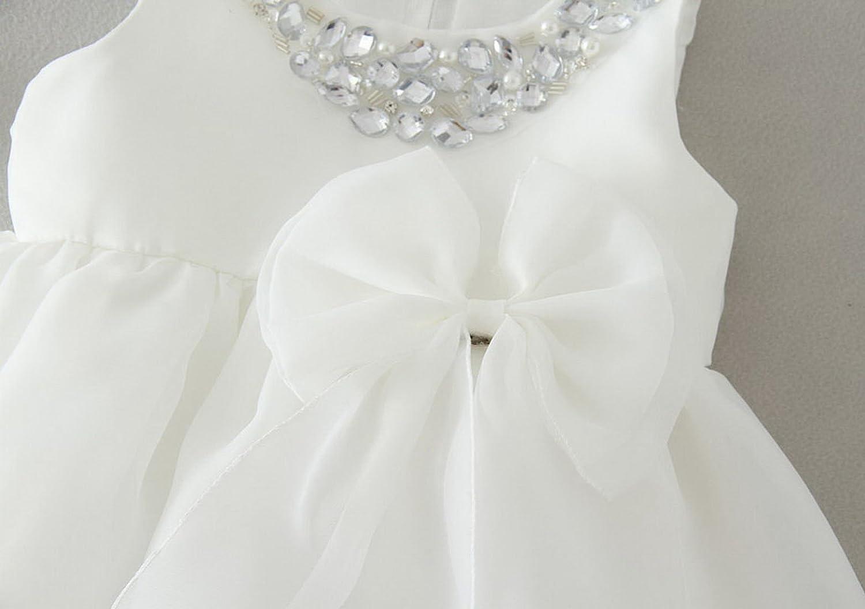 Infant Toddler Girls Easter Christening Dress Crystal Neck Wedding Pageant Dress