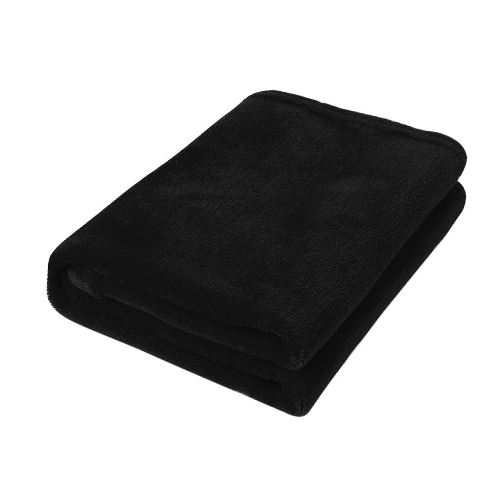 """Bed Blankets King Size·,50X70CM Fashion Solid Soft Throw Kids Blanket Warm Coral Plaid Blankets Flannel,Kids' Quilts,Black,20"""" × 25"""""""