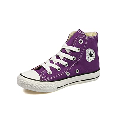 0a4937b82f19 Converse All Star Junior Kids Purple Canvas Hi Top Trainers