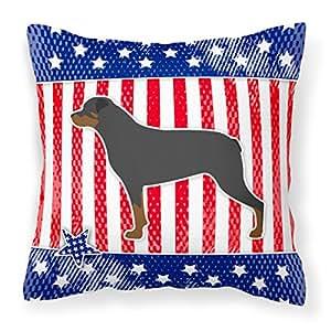 Caroline tesoros de Estados Unidos patrióticos Rottweiler Tejido decorativo almohada bb3366pw1414, 14hx14W, multicolor