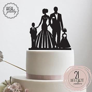 Amazon Com Bride Groom With Kids Wedding Cake Topper Mr Mrs
