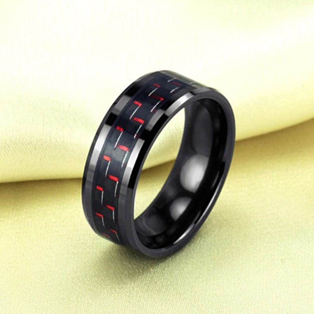 Bishilin 8MM Tungsten Black Ceramic Rings Carbon Fiber Inlaid Comfort Fit Wedding Band For Men Size 10
