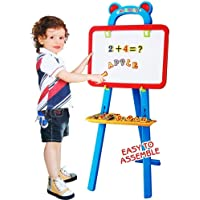 Magicwand 3-in-1 Double Sided Magnetic Educational White Chalk Board Learning Easel for Kids (Blue Easel)