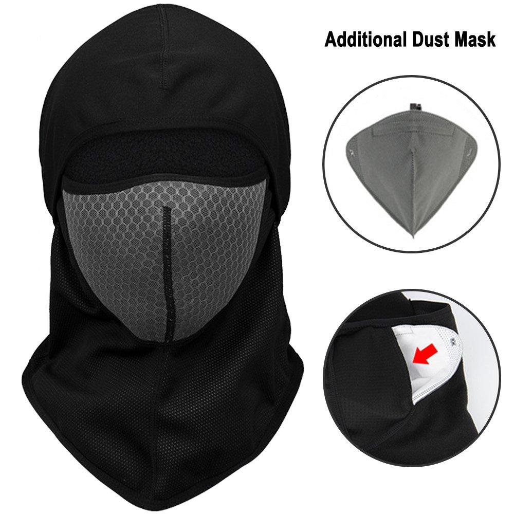 Motorcycle Balaclavas Winter Windproof Fleece Full Face Mask Fit For Men Women Outdoor Sports (Gray)