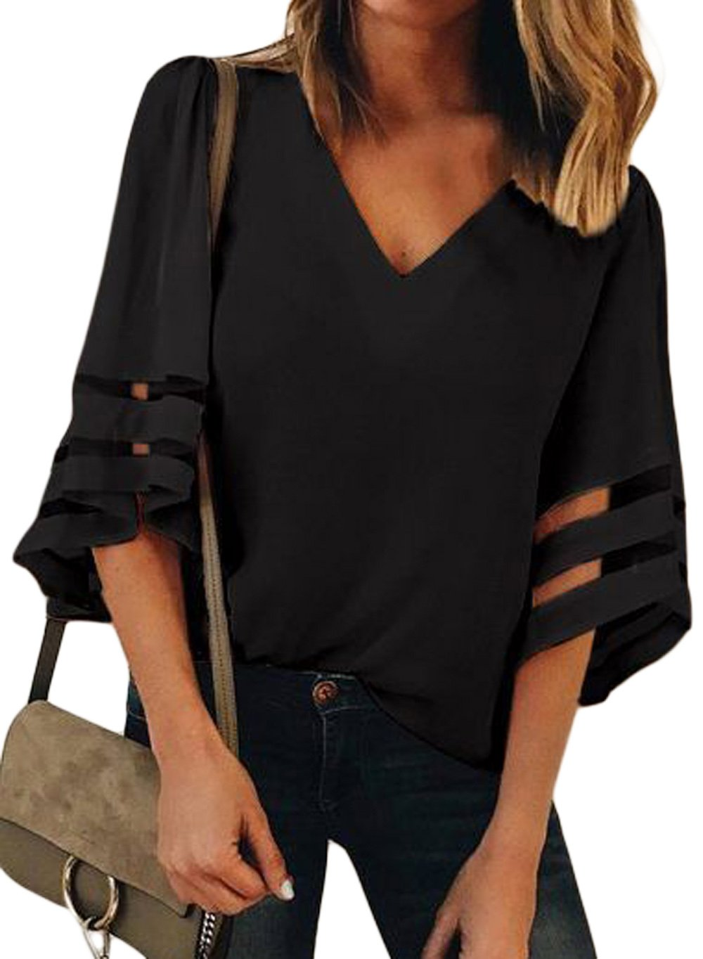 Women 3/4 Bell Sleeve Tops Casual V Neck Loose Blouse Summer Autumn Shirt(Black,S)