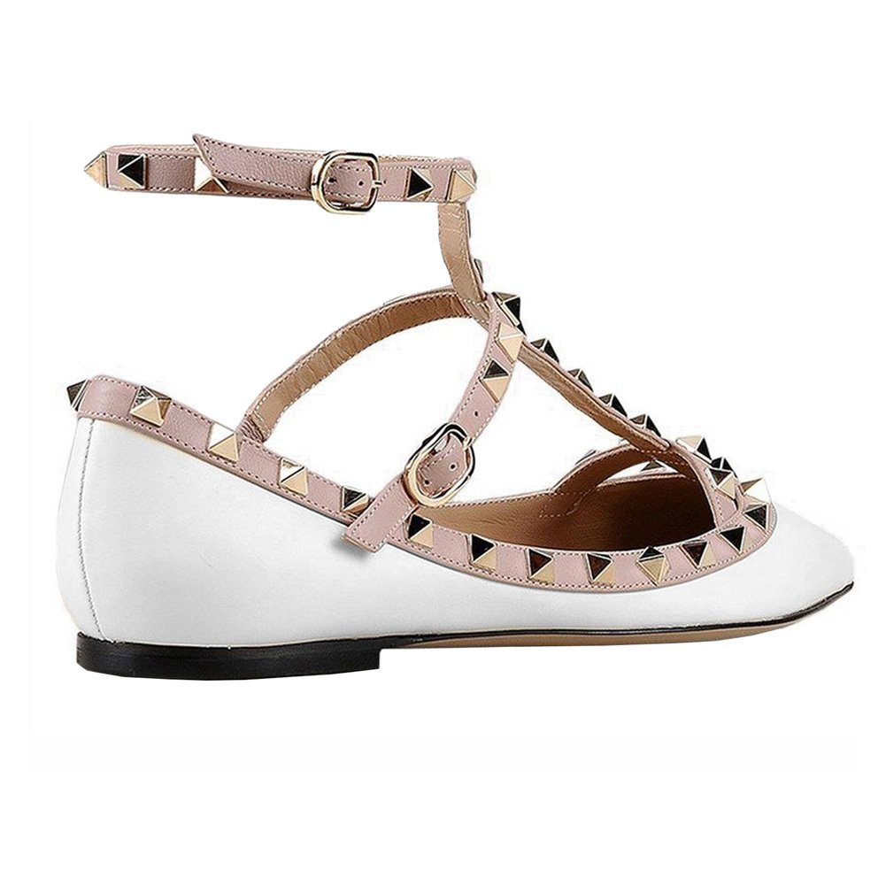 VOCOSI Women's Ankle Strap Studded Pointed Toe Pumps Rivets T-Strap Flat Pumps Dress B07B5ZW6VW 10.5 B(M) US|White(manmade Leather With Gold Rivets)