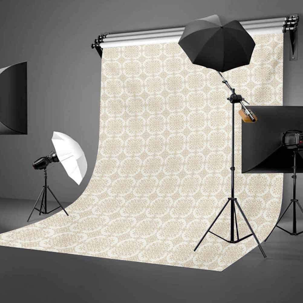 Traditional 8x10 FT Photography Backdrop Foliage Pattern with Rich Curlicues Classical Byzantine Tile Design Background for Baby Shower Birthday Wedding Bridal Shower Party Decoration Photo Studio
