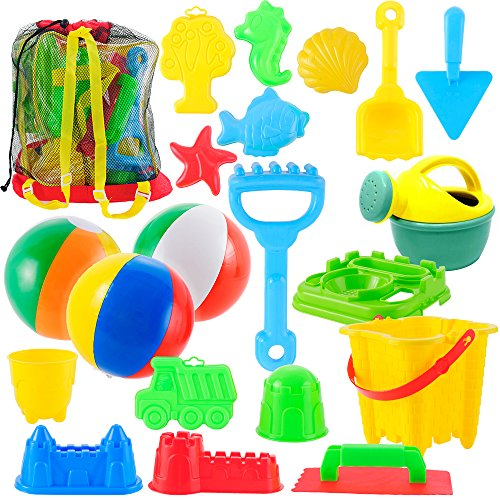 InJoy JOYIN 20 Pieces Beach Sand Toys Set Models, Beach Pail Set with Molds Bucket, Rake, and Shovel in Zippered Bag With Reusable Easy to Pack Mesh Backpack (Beach Toys)