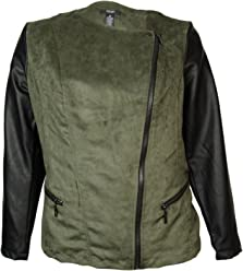 Alfani Womens Motorcycle Jacket Size XL - Color Military