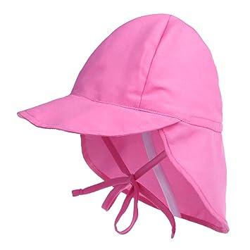 d6156eb01ce Millya Children Cotton Sun Hat with Drawstring Strap Kids Flap Legionnaire  Cap Summer Neck Protection Beach