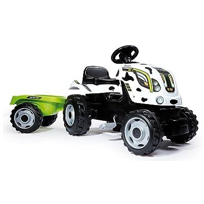 Smoby - Tractor Farmer XL Vaca con Remolque, Color Blanco (710113): Juguetes y juegos