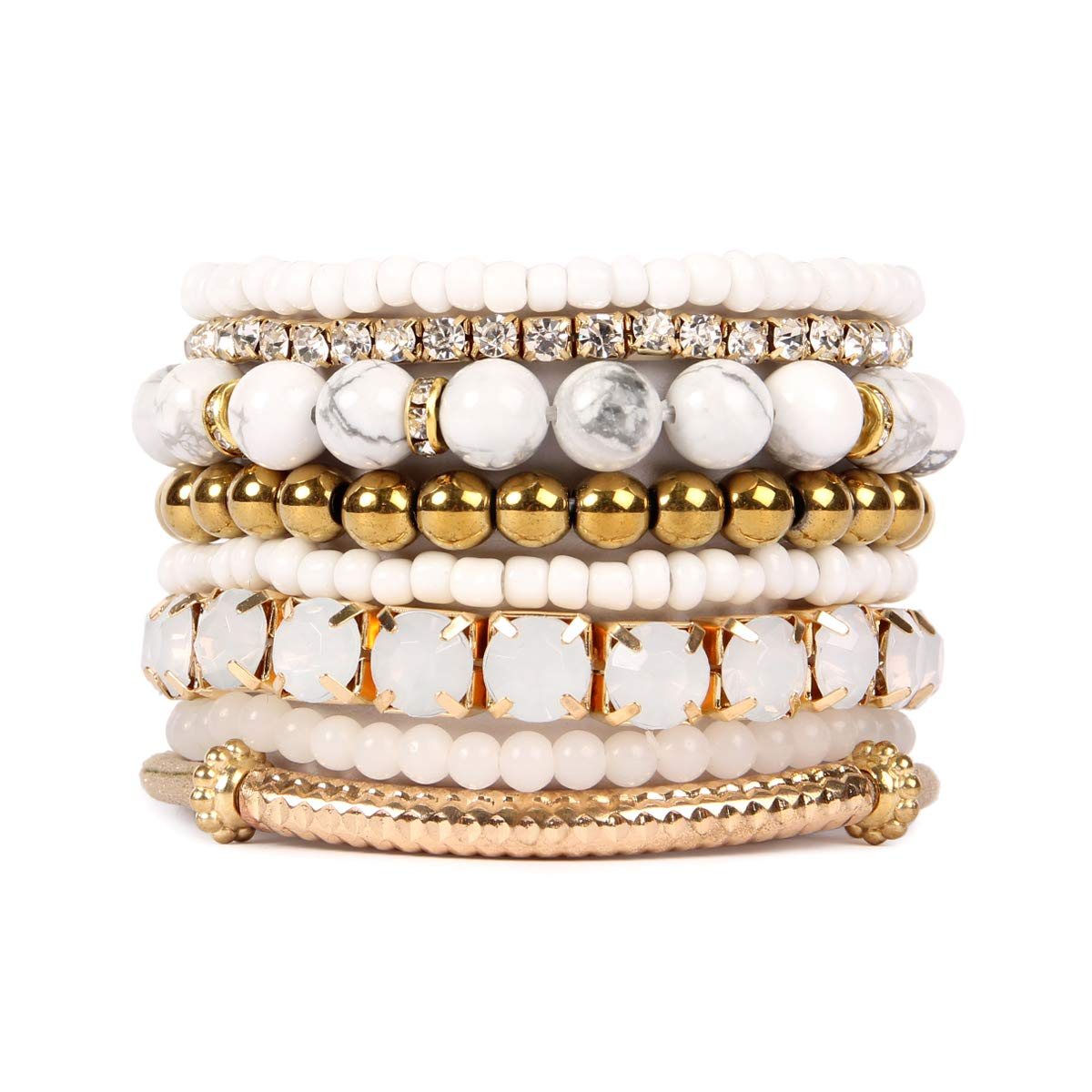 RIAH FASHION Bead Layering Multi Color Statement Bracelets - Stackable Beaded Strand Stretch Bangles HDB1512BK