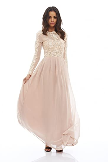 012e228d6 Amazon.com: AX Paris Women's Long Sleeved Lace Top Maxi Dress: Clothing