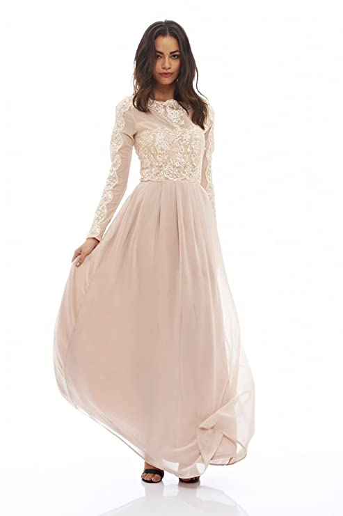 Amazon.com: AX Paris Women\'s Long Sleeved Lace Maxi Dress(Nude, Size ...