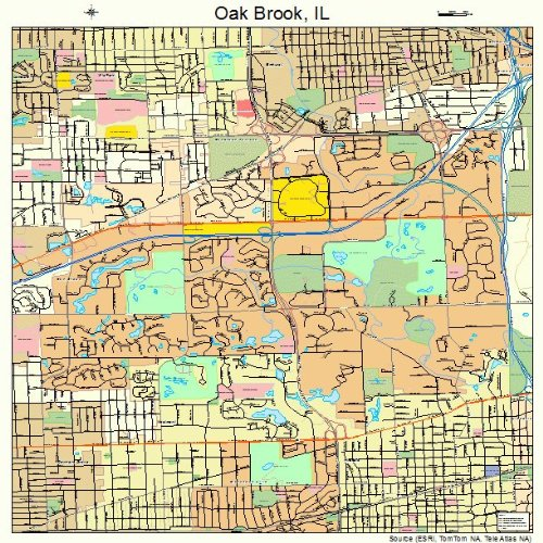 Large Street & Road Map of Oak Brook, Illinois IL - Printed poster size wall atlas of your home - Oak Brook Illinois