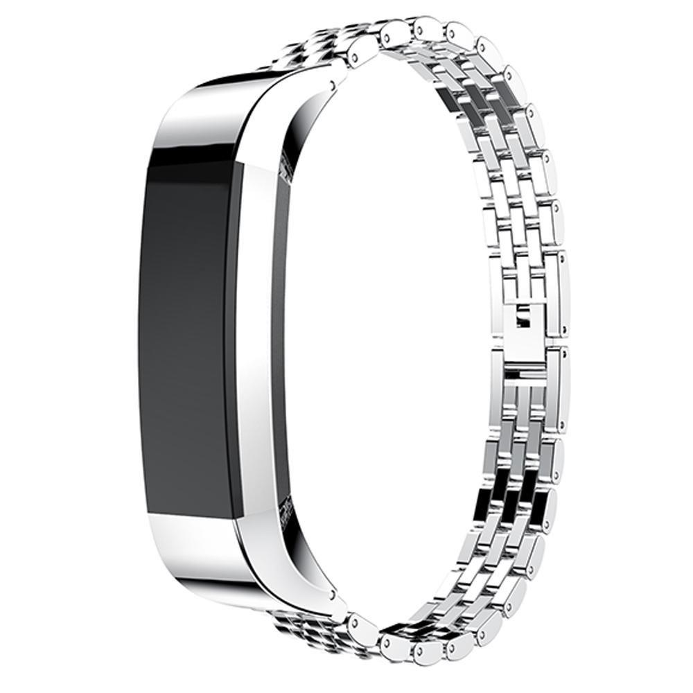 For Fitbit ALTAアルタ/ HRバンド、ステンレススチール交換用バンドメタルリストバンドバンドストラップfor Fitbit ALTAアルタ/ HR腕時計ゴールド+シルバー シルバー シルバー B0796LVBKC