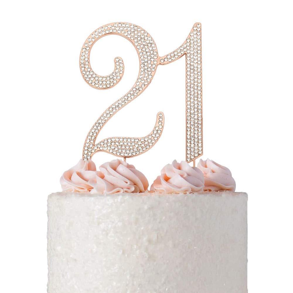 Rose Gold Glittery 21 Cake Topper 21st Birthday Party Decorations Birthday Party Cake Decor
