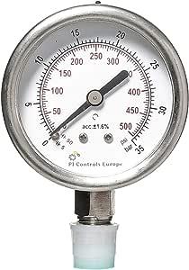 PI Controls UK Pressure Gauge, PG-63-R35-WF-SS