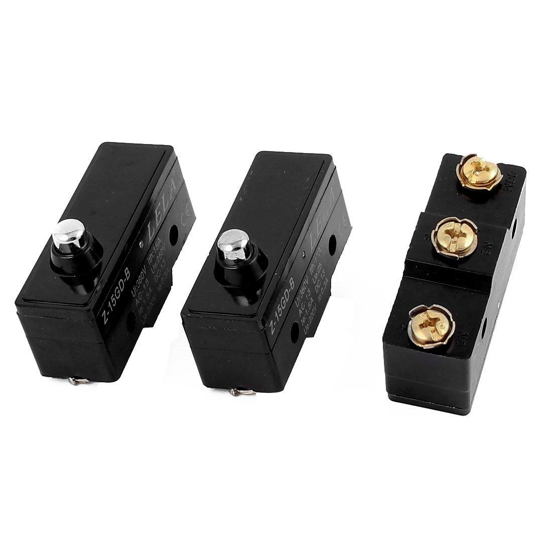 3Pcs Z-15GD-B SPDT 380V 15A Momentary Push Button  Plunger Control Limit Switch