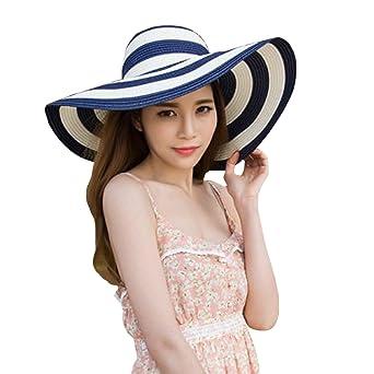 6651cb9d3 Queena Women Stripe Straw Hat Wide Brim Sun Hat Foldable Summer ...