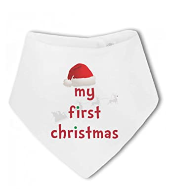 My First Christmas with Santa Hat and Reindeer - Baby Bandana Bib ... 58c20c8d71b