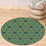 VROSELV Custom carpetOrange Living Room Decor for India Ethnic Design Lovers Floral Print for Bedroom Living Room Dorm Fern Green Marigold and Navy Blue Round 72 inches