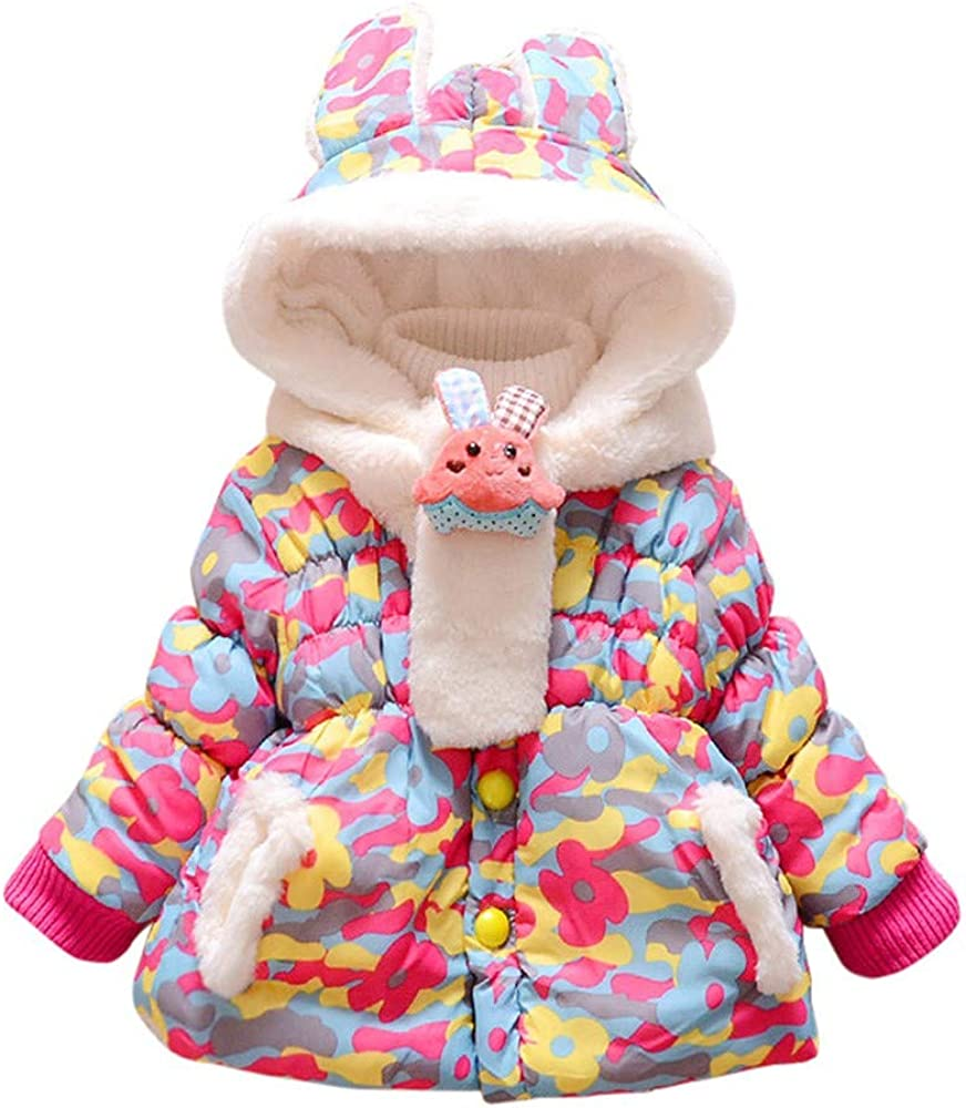 Pollyhb Baby Girls Winter Thicken Warm Coat Toddler Baby Girls Doll Hooded Outerwear