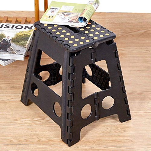 Livebest 15'' Super Strong Folding Step Stool with Portable Carrying Handle Safe Enough for kids Adults at Home, Kitchen and Bathroom,300 lbs capacity (black, 1) by Livebest