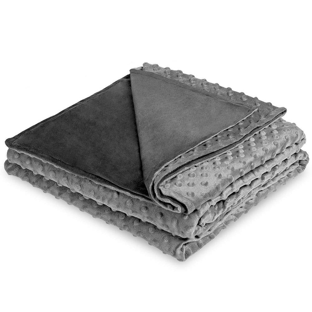 """Ultra-Soft Minky Removable Cover for Weighted Personal Comfort Blanket Cover, Easy Care - Embossed Texture (60""""x80"""", Grey/Light Grey)"""