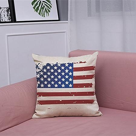 Sallydream Conjunto Fundas Cojines 45x45 Bandera Americana Americana Fundas de Almohadas Algodón de Lino Sofá Cojín Cubierta Decoración para el hogar: Amazon.es: Hogar