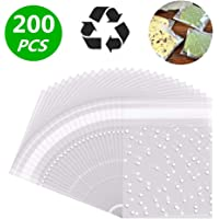 LiyuanQ Self Adhesive Candy Bag Cellophane Cookie Bags Self-adhesive Sealing Cellophane Bags White Polka Dot Clear Bags OPP Plastic Party Bag for Bakery, Candy, Cookie (2.8 x 2.8 inches, 200 pcs)