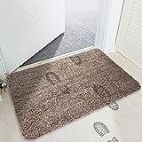 MAYSHINE Non-Slip Doormats Cotton Door Mat Mud Dirt Trapper Mats Entrance Rug Shoes Scraper Floor Indoor/Outdoor (Brown&Camel&White) 18x29 Inch