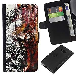 """A-type (Tiger Graffiti"""") Colorida Impresión Funda Cuero Monedero Caja Bolsa Cubierta Caja Piel Card Slots Para HTC One M7"""