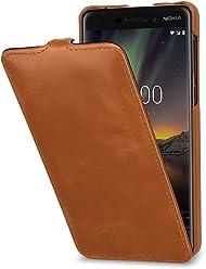 StilGut UltraSlim, Housse en Cuir pour Nokia 6.1. Étui de Protection à Ouverture Verticale en Cuir Fin et léger pour Nokia 6.1, Cognac