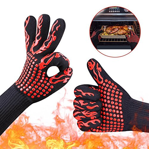 WEISIPU 1 Pair High-performance Extreme Heat Resistant BBQ Gloves,Frying & Baking,Microwave Oven Gloves, Forearm Protection Grill Insulation Silicone Oven Gloves(Torch) - Microwave Oven Service Manual