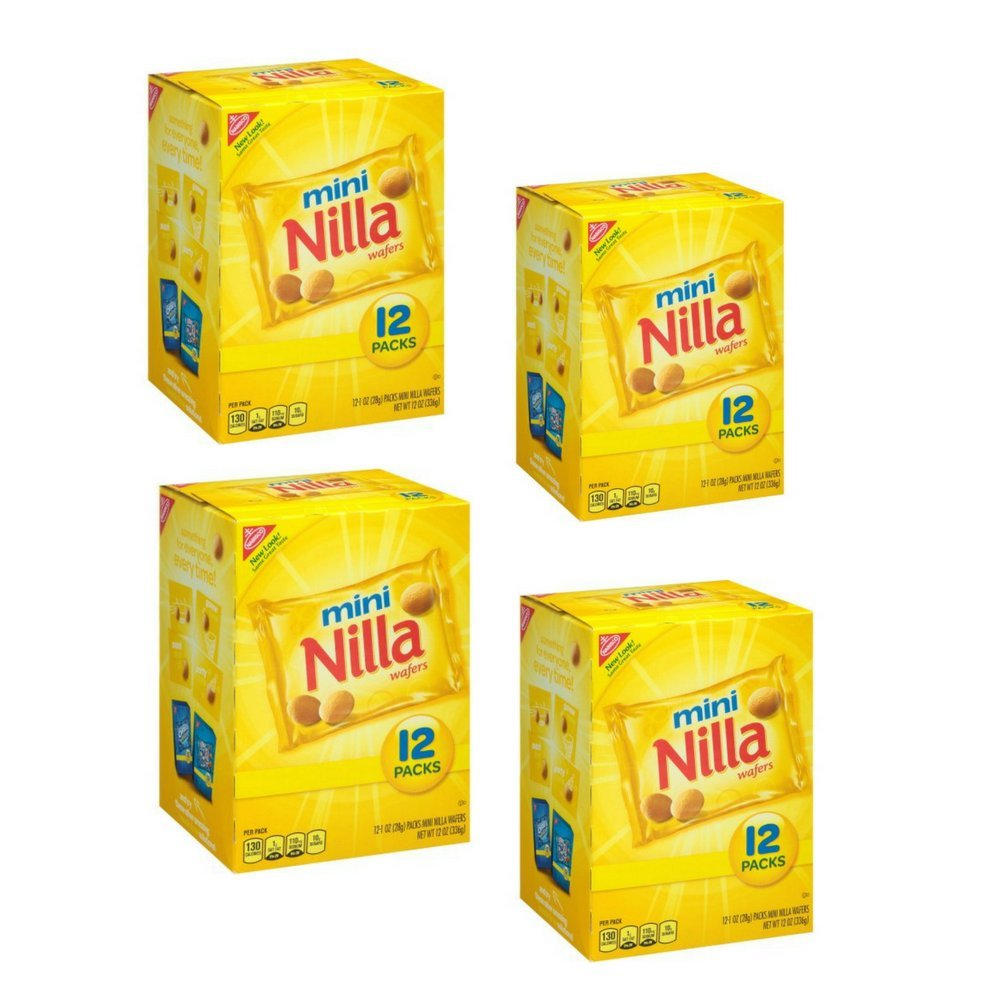 Nabisco Nilla Mini Wafers, Individual 1 oz Packages , 12 count Per Box (Pack Of 4)