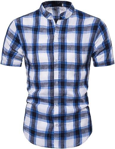 MEIbax Camisa de los Hombres a Cuadros de Moda Cuello Alto Soporte Manga Corta Casual y Comodo Tops de Hombre Cómodo y Transpirable, Combinado con Jeans, Pantalones Casuales etc.: Amazon.es: Ropa y