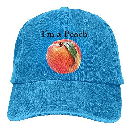 Peach Mop (E-Isabel I'm A Peach Adjustable Sports Cotton Washed Denim Hat Royalblue)