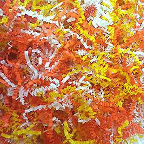 Custom & Unique {8 Ounces} of Crinkle Cut Shredded Gift Basket Filler Paper Made From Cardstock w/ Fall Halloween Candy Corn Tone Bright Mixed Spring Summer Grass Design (Orange, Yellow & White)]()